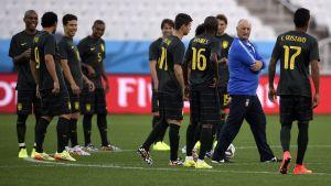 Brasiliens fotbollslandslag under träningar.