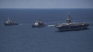 Hangarfartyget Carl Vinson befann sig i Indiska oceanen under veckoslutet och inte på väg till vattnen utanför Nordkorea