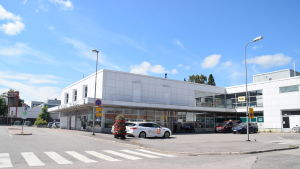 Taxibilar vid busstation