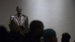 Staty föreställande Malcolm X i Harlem, New York.