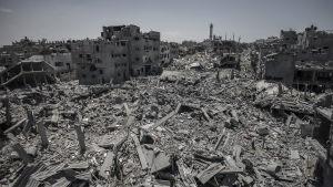 Stadsdelen Shejaiya i Gaza under eldupphöret den 26 juli