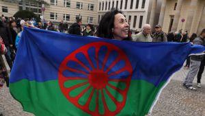 Demo i Berlin mot diskriminering mot romer.