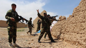 Över 5 500 afghanska regeringssoldater dödades ifjol, de allra flesta av dem i provinsen Helmand i sydöstra Afghanistan. Här tar soldater skydd i distriktet Babaji i Helmand
