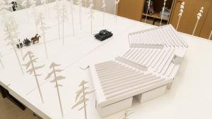 Modell över Harparskog där Okänd soldat ska spelas sommaren 2017.