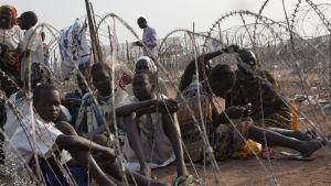 Flytkingar vid FN-lägret i Juba.
