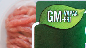 GM-vapaa jauhelihapakkaus erikoislähikuvassa