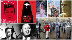 kollaasikuva elokuvajulisteista ja kuvista. Kuvissa muun muassa elokuvahahmoja.