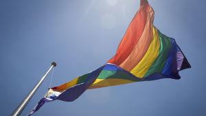 Regnbågsflagga vajar.