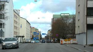 Vägarbete på Skolhusgatan i Vasa