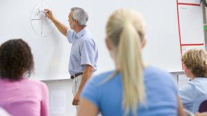 En äldre manlig lärare skriver på en whiteboard i ett klassrum med elever i förgrunden av bilden.