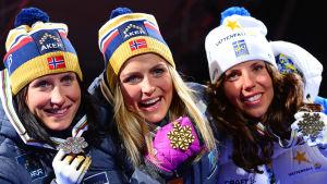 Marit Björgen, Therese Johaug och Charlotte Kalla, VM i Falun 2015.