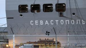 Mistral-fartyget Sevastopol som byggdes för Ryssland i Frankrike.