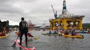 Demonstration i Seattle i maj 2015 mot Shells planer på oljeborrning i Arktis