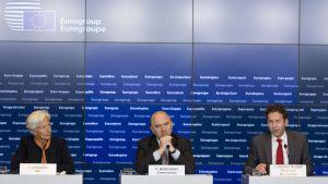 Presskonferens efter Eurozonens finansministermöte i Luxemburg
