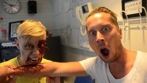 Magnus och Nicke blev halloweensminkade av Jenna Wilhelmsson