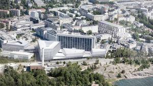 Visualisering på hur det planerade Brosjukhuset i Mejlans ska se ut visar en ljus byggnad i flera vånigar med stora fönster som vetter västerut mot havet.