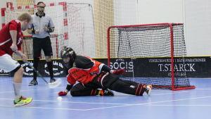 Målvakten Timo Ruokolainen parerar ett straffslag.