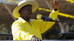 Ugandas president Yoweri Museveni under presidentkampanjen i februari 2016.