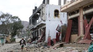 Förstört MSF-sjukhus i Haydan i Jemen.