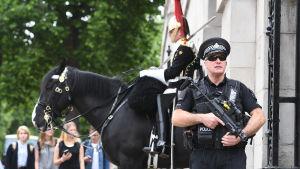 Beväpnad polis vid parad i London efter attacken i Manchester den 23.5.
