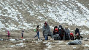 Flyktingar i gränsområdet mellan Serbien och Makedonien