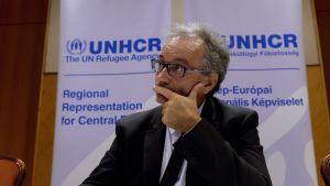 UNHCR:s Europachef Vincent Cochetel under en presskoferens i september 2015