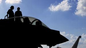 Brittiska Typhoon-stridsflyg som också deltar i offensiven mot IS i Mosul