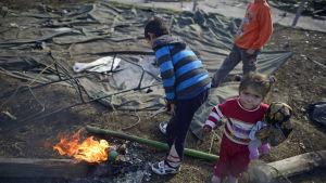 flyktingbarn på lägret i Charmanli i bulgarien