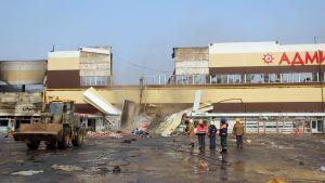 Brandhärjat köpcenter i Kazan i Ryssland