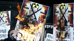 Nordkoreas kärnprovsprängning har utlöst ilska, protester och krav på nya sanktioner i Sydkorea