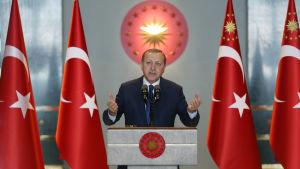 President Recep Tayyip Erdogan talar till utländska ambassadörer i Ankara 9.1.2017