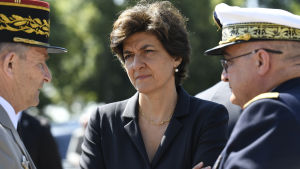 French Minister of the Armed Forces Sylvie Goulard (C) attends the ceremony to mark the 77th anniversary of General Charles de Gaulle's appeal of 18 June 1940, at the Mont Valerien memorial in Suresnes, near Paris, France, 18 June 2017