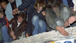 Ungdomar från Västberlin slår sönder berlinmuren 10 November 1989.