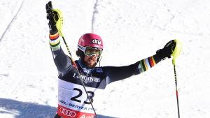 Andreas Romar jublar efter superkombinationen i VM i USA, februari 2015.