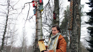 Perttu Matero Suomen Metsästysmuseosta seisoo ulkona koivujen katveessa ja pitelee kädessään linnunpönttöä.