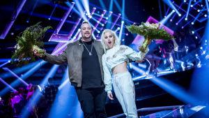 Nano Omar och Ace Wilder, vinnare i sin deltävling i Melodifestivalen 2017.