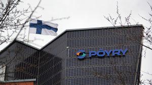 Konsultbolaget Pöyrys väggskylt i Tammerfors.