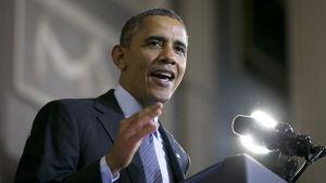President Barack Obama håller tal om sjukförsäkringsreformen Affordable Care Act (ACA)