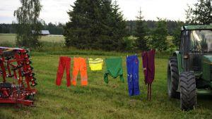 Tvättlina med kläder i regnbågens färger