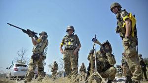 Ukrainska soldater i Donetskregionen.
