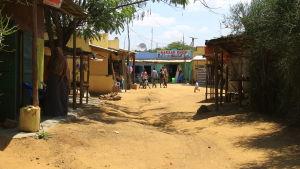 Somaliska byn i Nakivales flyktingbosättning i Uganda