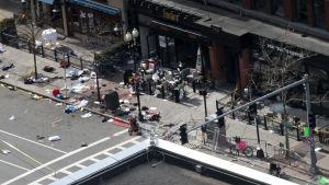 Gatan Boylston Street efter bombdådet under Boston Marathon 2013.