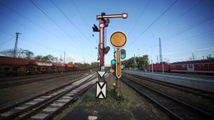 Signalanordning vid huvudstationen i Hanau den 4 maj 2015.