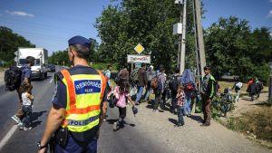 Migranter i Debrecen i Ungern 1.7.2015