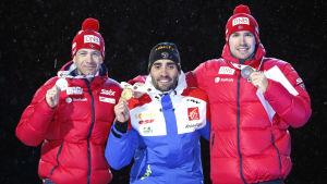 Medaljörerna vid herrarnas 12,5 kilometer i VM i skidskytte.