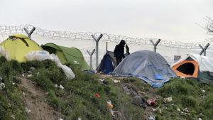 Flyktingläger i Idomeni vid gränsen mellan Grekland och Makedonien