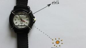Suunnan määrittäminen auringon avulla.
