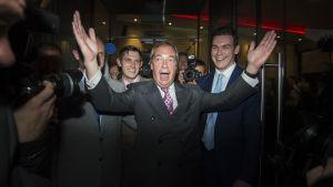 Nigel Farage, ledaren för Storbritanniens självständighetsparti Ukip, jublar med båda händerna i luften efter brexit-resultatet.