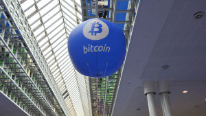 Bitcoin marknadsföringsmaterial på CEBIT-mässan i hannover 2016