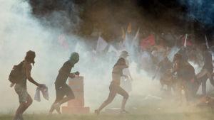 Demonstranter flyr undan tårgas utanför kongressen i Brasilia 29.11.2016
